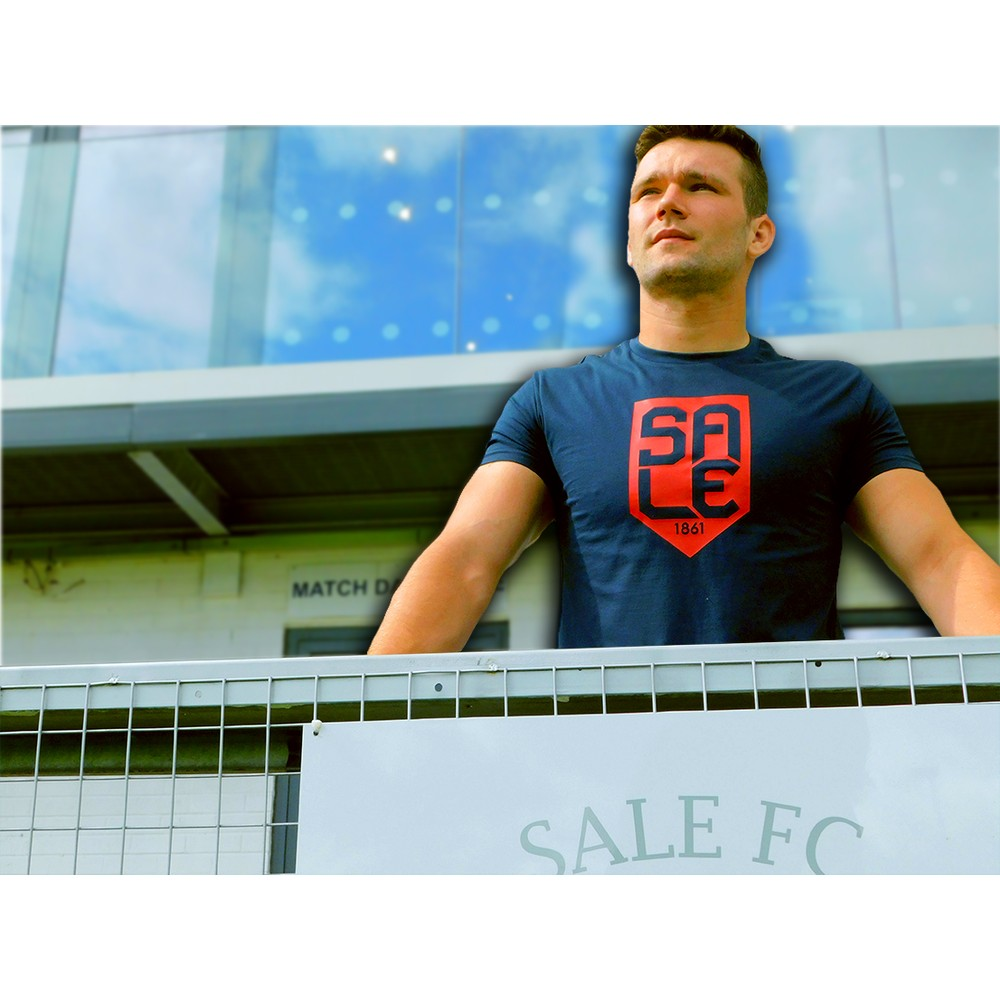 SALE FC RUGBY SALE SHIELD TSHIRT  in NAVY / RED