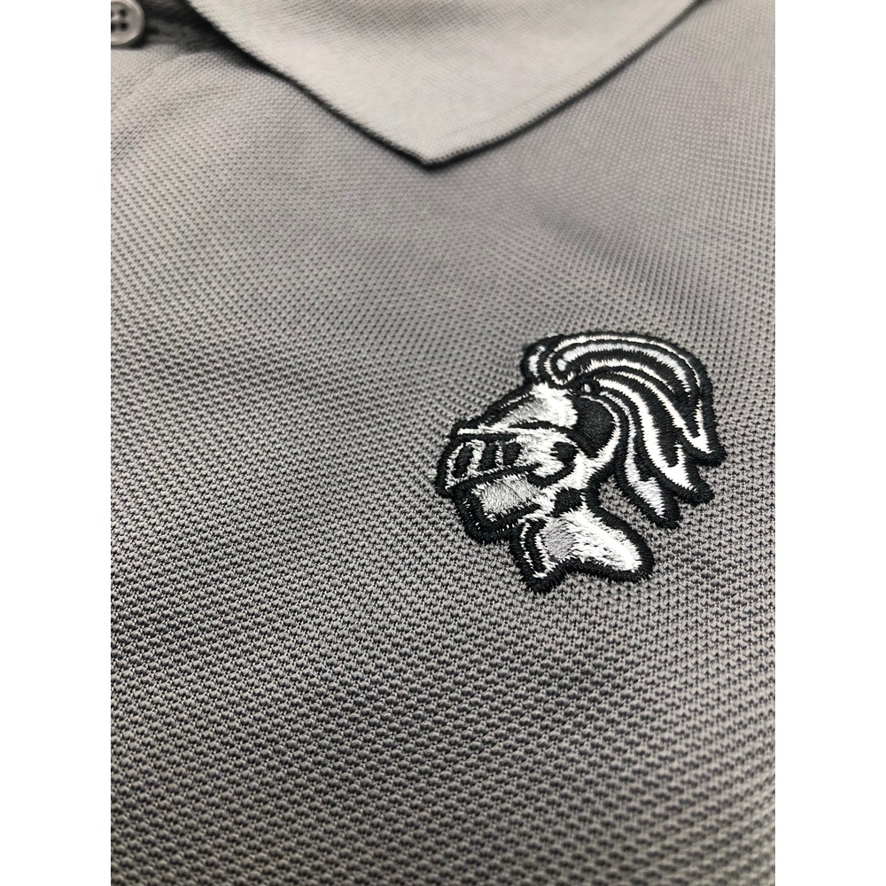 YCK Embroidered Knight Polo Shirt Grey