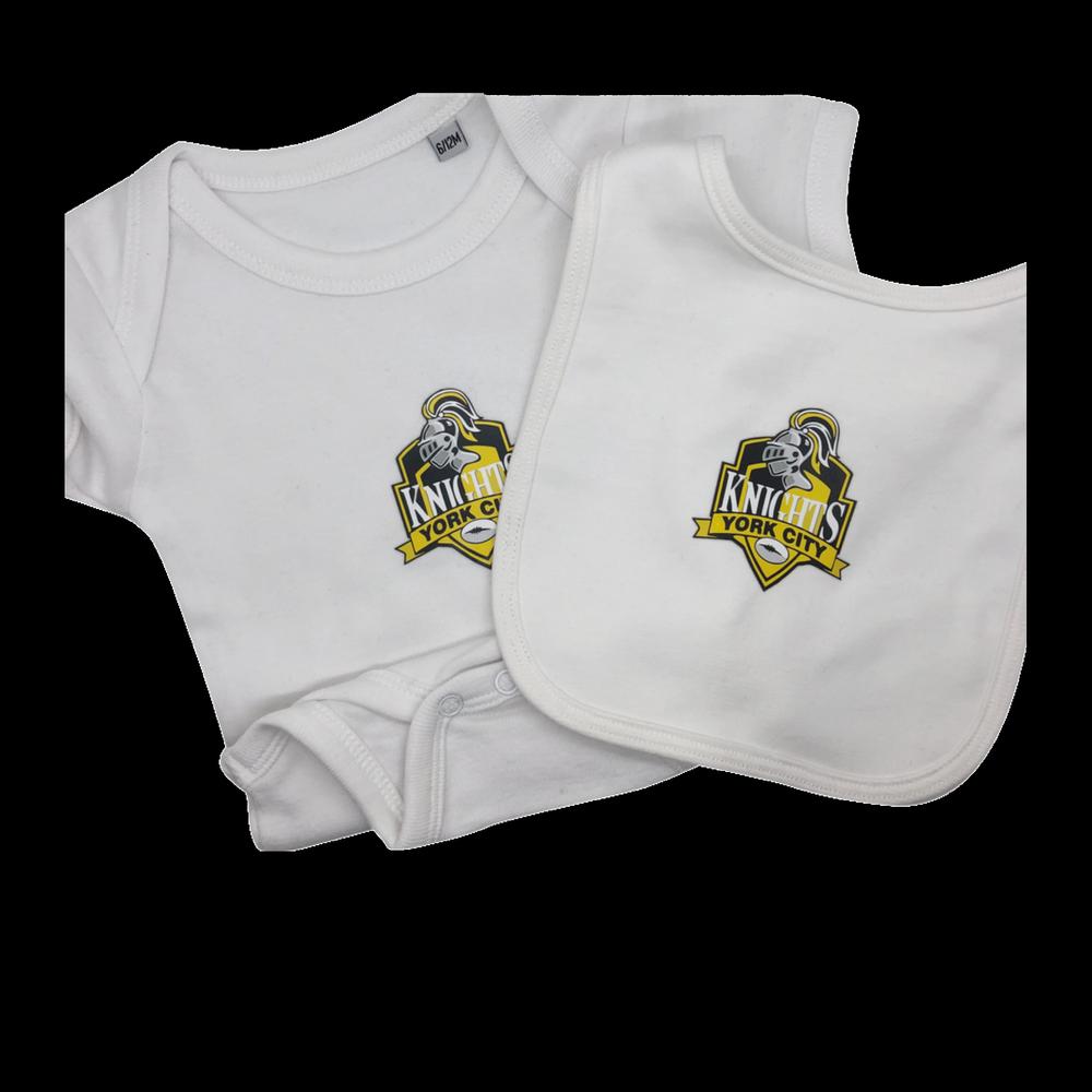YCK Crest Baby Set - Vest & Bib White