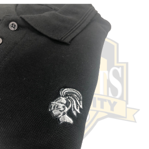 YCK YCK Embroidered Knight Polo Shirt in Grey