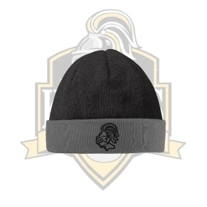 YCK Knight Embroidered Black/Grey Beanie Hat
