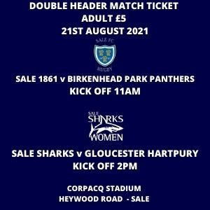 SALE FC RUGBY Double Header Match Day Ticket - Adult - 21st August 2021