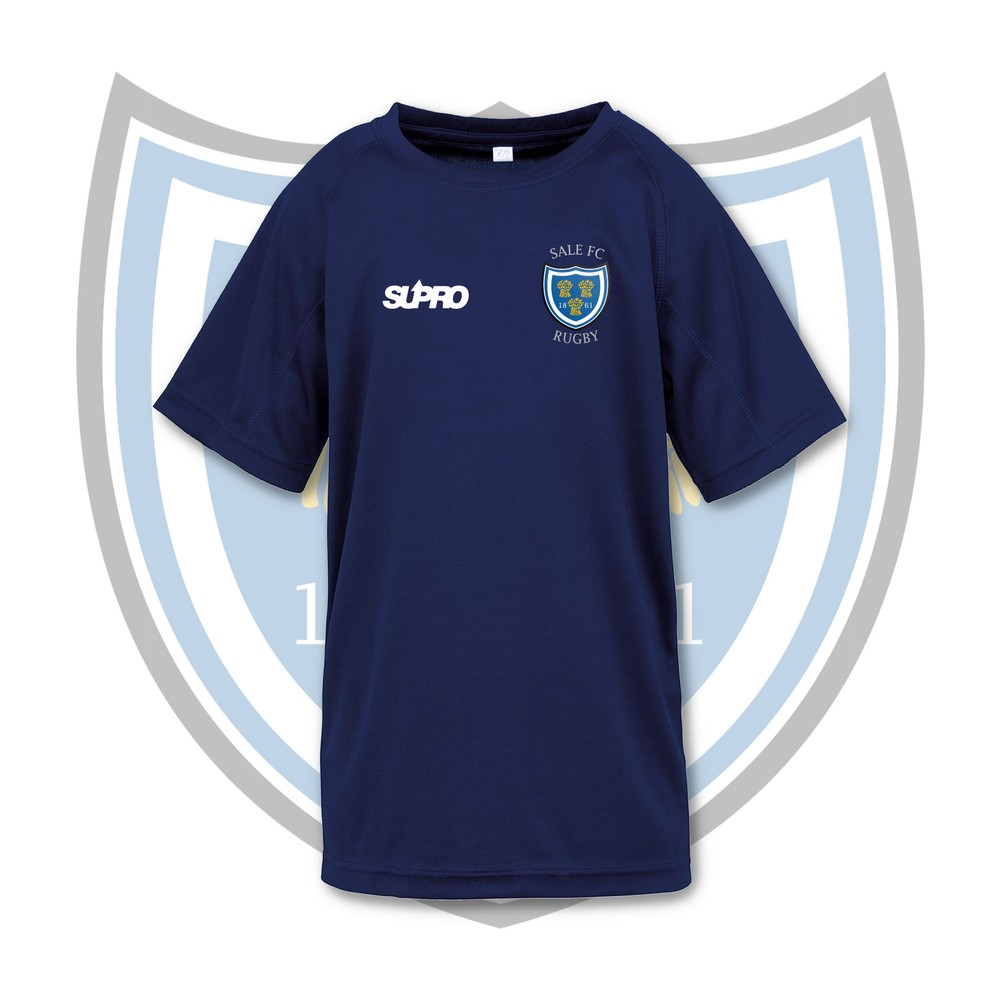 SALE FC RUGBY Sale FC Supro Kids Quick Dry Training T-Shirt - Navy Navy
