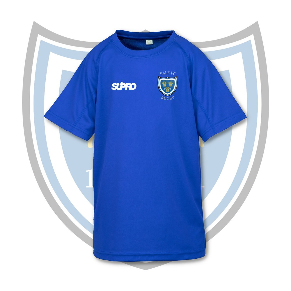 SALE FC RUGBY Sale FC Supro Kids Quick Dry Training T-Shirt - Royal Blue