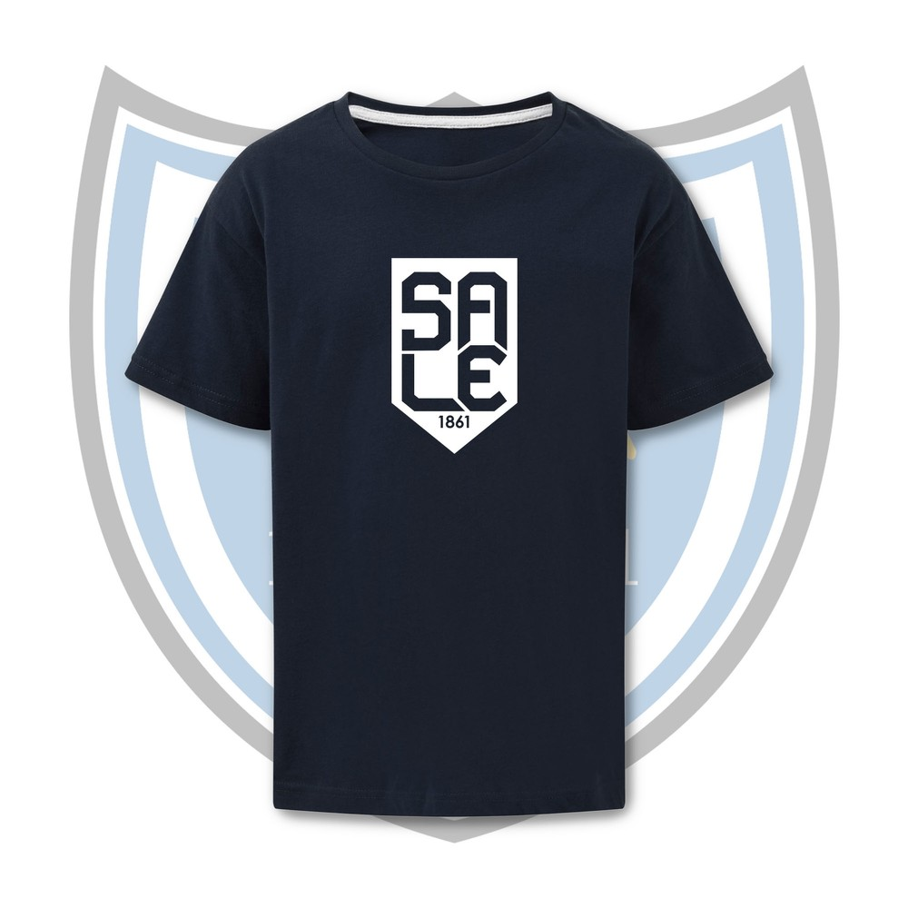 SALE FC RUGBY Sale FC Shield T-Shirt - White NAVY / WHITE