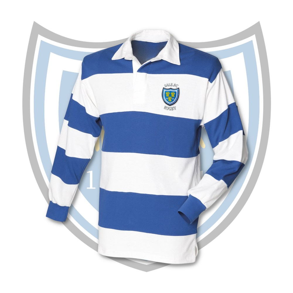 SALE FC RUGBY Sale FC Stripe Long Sleeve Cotton Rugby Shirt ROYAL BLUE / WHITE