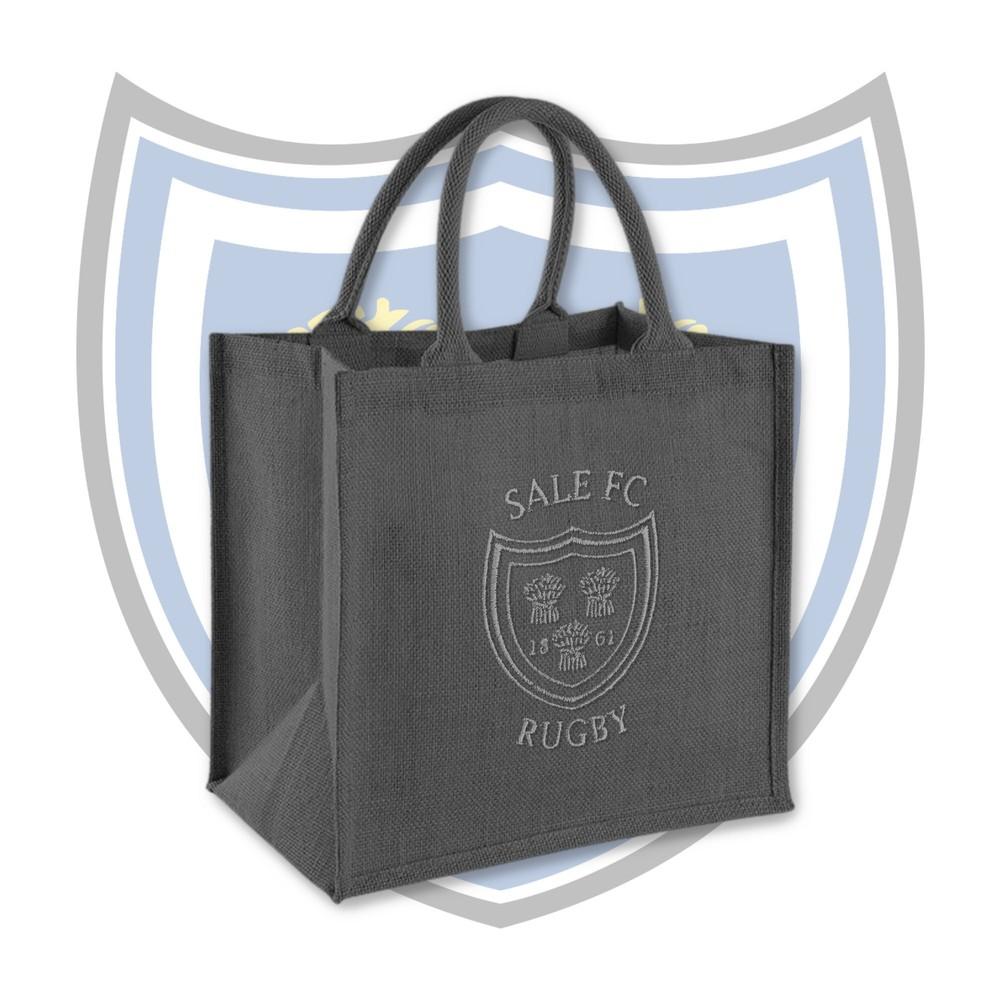 SALE FC RUGBY Jute Embroidered Crest Midi Tote Bag Graphite