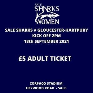 SALE FC RUGBY Sale Sharks Ticket - Adult - 18th September 2021