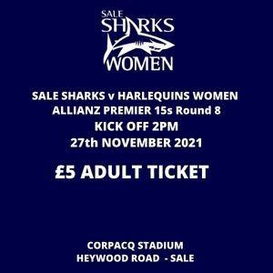 SALE FC RUGBY Sale Sharks Ticket Adult - 27th November 2021