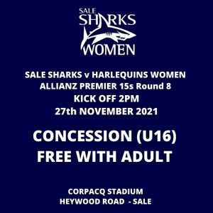 SALE FC RUGBY Sale Sharks Concession Ticket - 27th November 2021